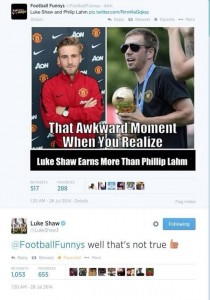 Man Utd's Luke Shaw shuts up a banter Twitter account