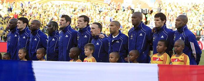 France line up for La Marseillaise before their humiliating loss to Mexico.
