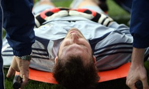 Cech is stretchered from the field, following his near-fatal collision with an opposing player.