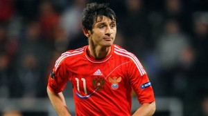 Dzagoev: His 3rd goal of the tournament has given Russia a half time lead.