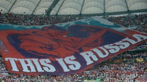 On an emotionally charged occasion, the Russian fans unfurled this in Warsaw's National Stadium.