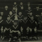 West Auckland's 1909 winning side with the Sir Thomas Lipton Trophy