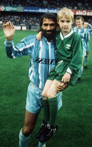 The forty-two year old Best with his son, Callum, at his 1988 testimonial