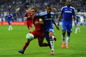 Proof it can be done: Bertrand tussles with Philipp Lahm during the Champions League final on 19 May
