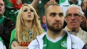 GDANSK, POLAND - JUNE 14:  Republic of Ireland fans look on during the UEFA EURO 2012 group C match between Spain and Ireland at The Municipal Stadium on June 14, 2012 in Gdansk, Poland.  (Photo by Alex Grimm/Getty Images)