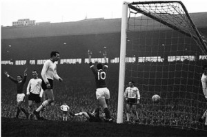 The first of 137: Best's first goal for Manchester United, against Burnley on 28 December, 1963