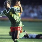 Roger Milla and Rene Higuita