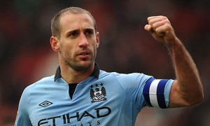 Pic: Zabaleta looking a bit worse for wear after semi final win