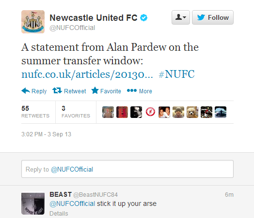 Newcastle tweet