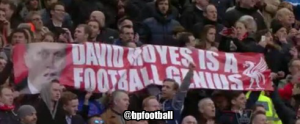 "Pic: Liverpool fans unfurl ""David Moyes is a football genius"" banner"