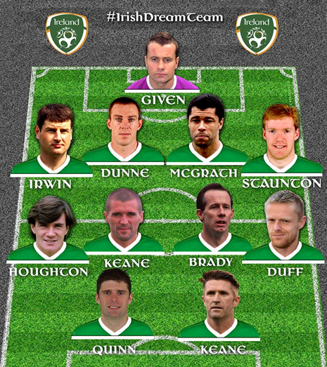 The best Irish team of the last 50 years as chosen by Irish football fans. No room for John Giles.