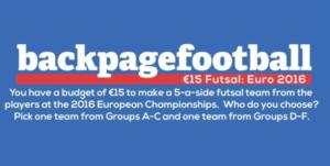 Pick your €15 Euro 2016 Futsal teams