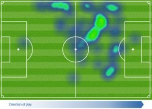 A heat map of Wayne Rooney's performance in a 0-0 draw against Crystal Palace 2015/16